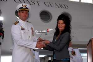 A model of one of the Coast Guard's two Command and Control Aircraft (CG 02 - a Challenger 604, acquired in December, 2005) was presented by a representative of TKC Aerospace to CAPT John J Santucci, Jr. at his Change of Command Ceremony at USCG Air Station Washington, DC.